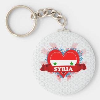 Vintage I Love Syria Basic Round Button Key Ring
