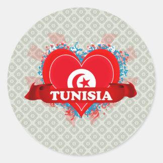 Vintage I Love Tunisia Round Sticker