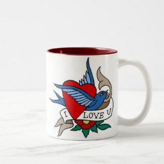 Vintage I Love U Bird, Heart Tattoo Art Two-Tone Coffee Mug