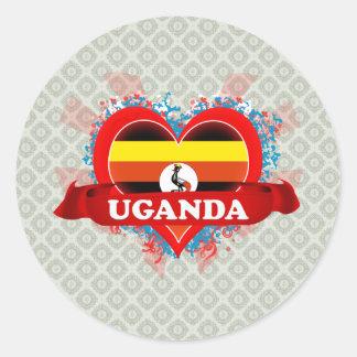 Vintage I Love Uganda Classic Round Sticker