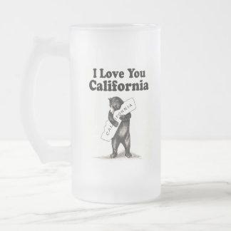 Vintage I Love You California Frosted Glass Beer Mug