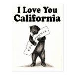 Vintage I Love You California State Bear Postcard