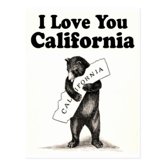 Vintage I Love You California State Bear Postcard