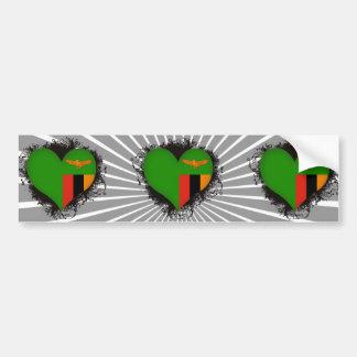 Vintage I Love Zambia Bumper Sticker
