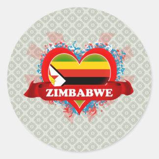 Vintage I Love Zimbabwe Classic Round Sticker