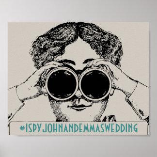 Vintage I Spy Social Media Hashtag Sign Poster