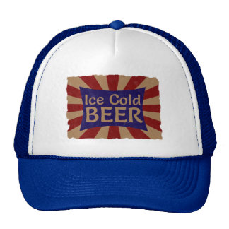 Vintage Ice Cold Beer Advertising Sign Hat / Cap Mesh Hats