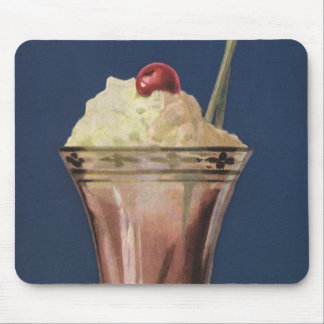 Vintage Ice Cream Shake, Whipped Cream & Cherry Mouse Pad