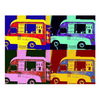 Vintage ice cream truck europe pop art postcard