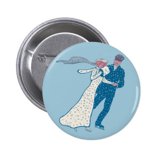 Vintage Ice Skaters 6 Cm Round Badge