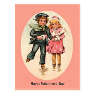 Vintage Ice Skating Couple - Valentine's Day Postcard