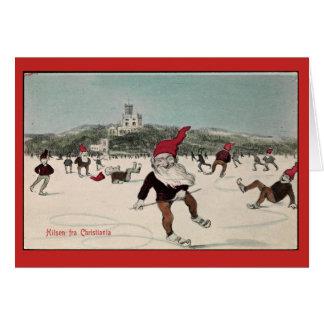 Vintage Ice Skating Elves Card