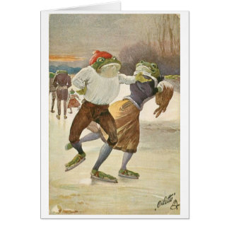 Vintage Ice Skating Frog Couple, Card