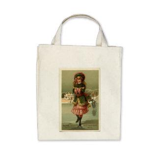 Vintage Ice Skating Girl Tote Bag Canvas Bag