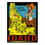 Vintage Idaho Map - Potato Country Postcard