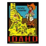 Vintage Idaho Map - Potato Country Postcard