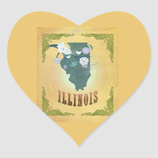 Vintage Illinois State Map- Passion Fruit Yellow Stickers
