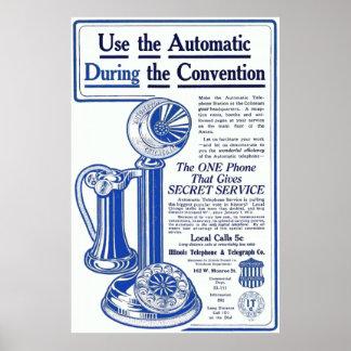 Vintage Illinois Telephone Advertisment Poster