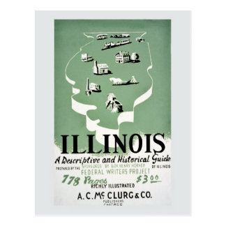 Vintage Illinois travel guide ad Postcard