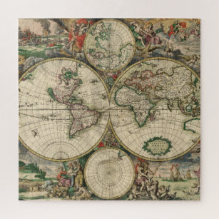 Vintage Illustrated World Map Jigsaw Puzzle
