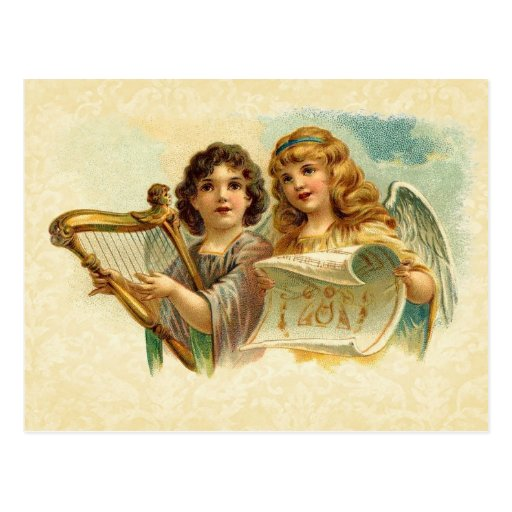 Vintage Illustration Angels Singing and Harp Post Card