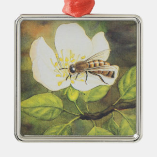 Vintage Illustration : Bee On A White Flower Christmas Ornament