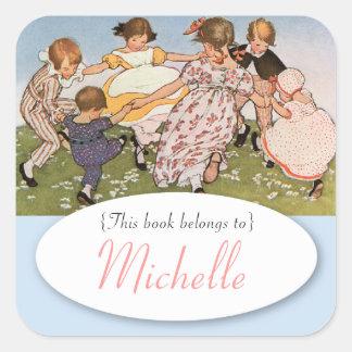 Vintage illustration children s bookplate sticker