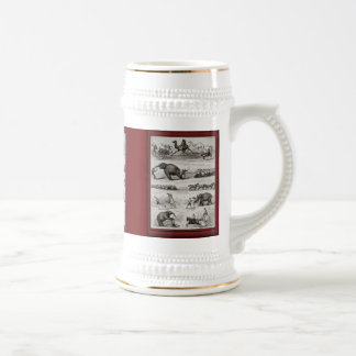 Vintage illustration - circus animals and bicycles beer stein
