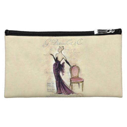 Vintage Illustration French Fashion Female Model Makeup Bags