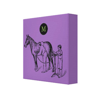 VINTAGE Illustration Horse Clipping Monogram C Canvas Print