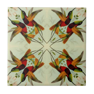 Vintage Illustration Hummingbirds and Flowers Small Square Tile