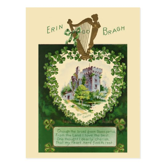 Vintage illustration - Irish Castle and Harp Postcard