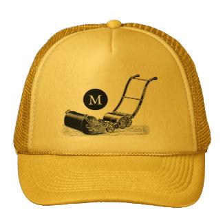 VINTAGE ILLUSTRATION Lawn Mower Monogram Hat