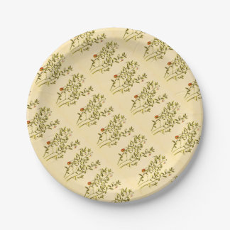 Vintage Illustration of a Cranberry Plant 7 Inch Paper Plate
