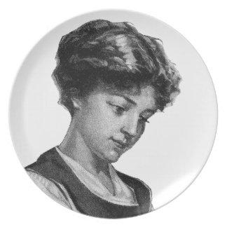 Vintage illustration of a lady baking dinner plates
