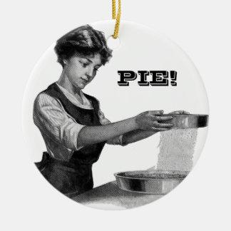 Vintage illustration of a lady baking round ceramic decoration