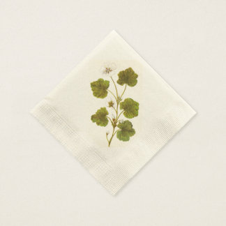 Vintage Illustration of a Round Leaved Mallow Disposable Napkin