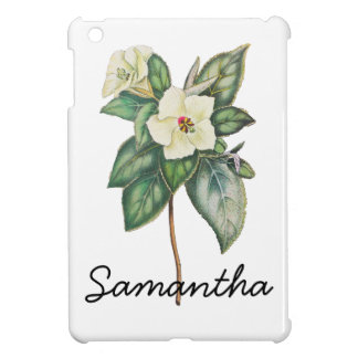 Vintage Illustration Of A White Flower Cover For The iPad Mini