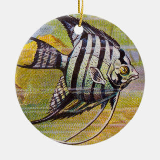 Vintage Illustration Of An Angelfish Round Ceramic Decoration