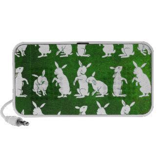 Vintage Illustration of Bunnies on Green iPod Speaker
