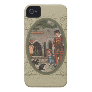 Vintage illustration of children and a beefeater iPhone 4 cases
