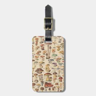 Vintage illustration of mushrooms luggage tag