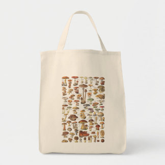 Vintage illustration of mushrooms tote bag