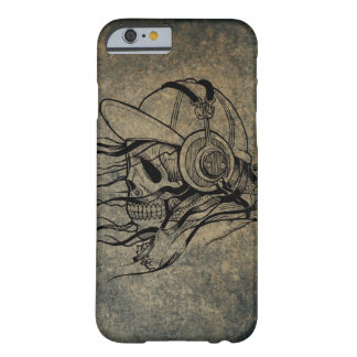Vintage Illustration of Skull with Headphones Barely There iPhone 6 Case