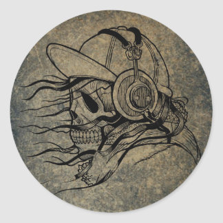 Vintage Illustration of Skull with Headphones Classic Round Sticker