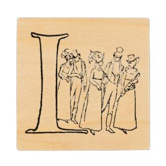 Vintage Illustration of the Letter I Wood Coaster