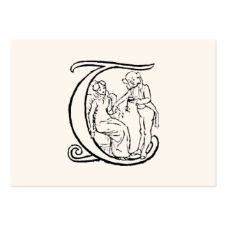 Vintage Illustration of the Letter Monogram T Pack Of Chubby Business Cards