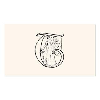 Vintage Illustration of the Letter Monogram T Pack Of Standard Business Cards