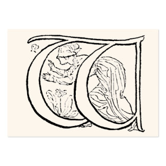 Vintage Illustration of the Letter w Business Card Templates