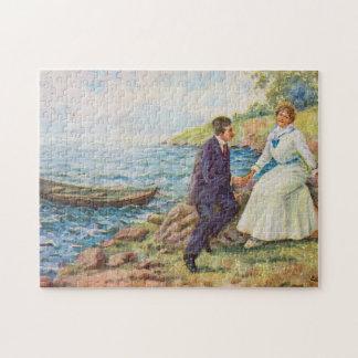 Vintage Illustration Romantic Couple Jigsaw Puzzles